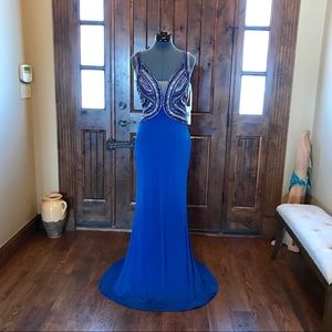 JVN Jovani Blue Beaded Illusion Dress! NEW!